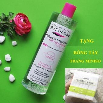 Nước tẩy trang Byphasse Micellar Make-up Remover Solution 500ml + Tặng Bông Tẩy Trang Miniso 180 - Nhungshop