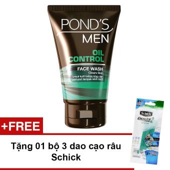 Sữa rửa mặt Pond's Men kiểm soát nhờn 100g + Tặng bộ 3 dao cạo râu