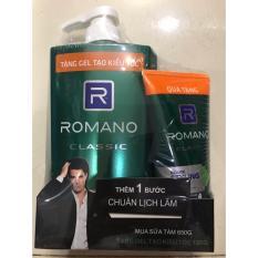 Sữa tắm Romano Classic(Xanh Lá) chai 650g tặng Gel Vuốt Tóc Romano 120g