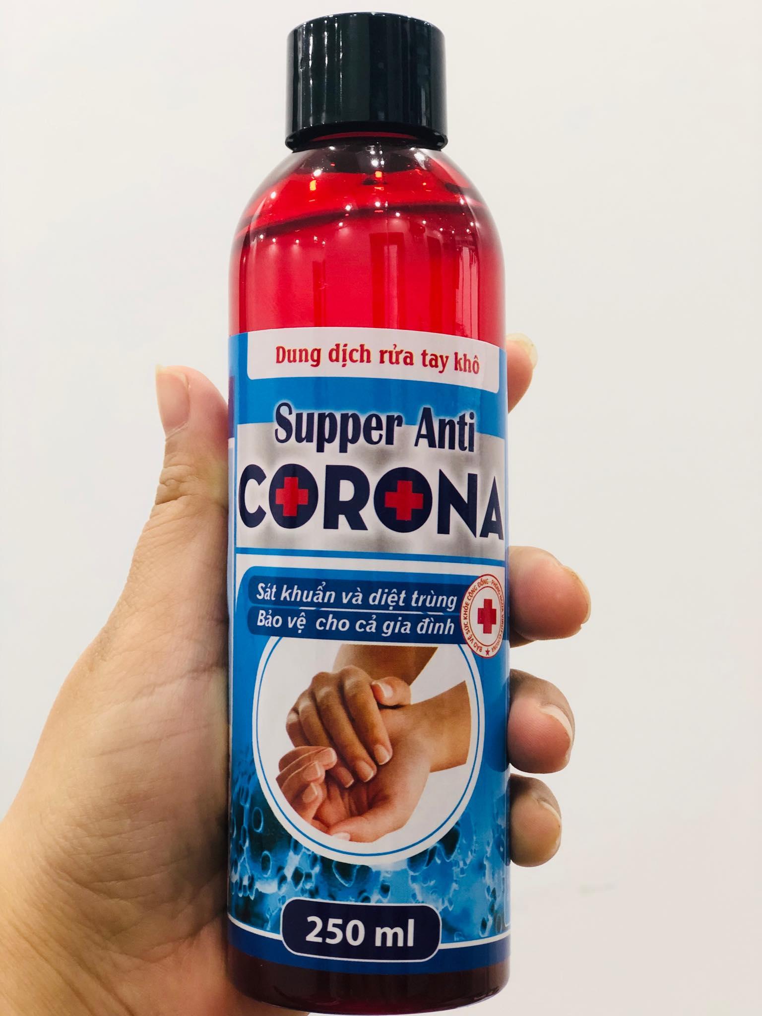 Gel rửa tay khô sát khuẩn, khử mùi, không hại da tay Coro.na Supper Anti 250ml , an toàn với trẻ em ( nước rửa tay khô, dung dịch rửa tay)
