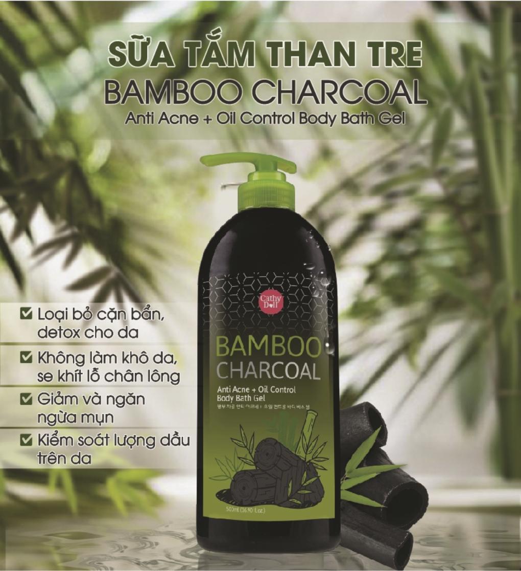 SỮA TẮM THAN TRE CATHY DOLL BAMBOO CHARCOAL ANTI ACNE+OIL CONTROL BODY BATH  GEL 500ML | Lazada.vn
