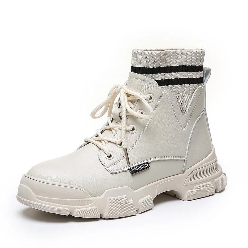 Boot da cao cổ phối chun lẻ kẻ 2 màu Đen Kem (M6-8779)