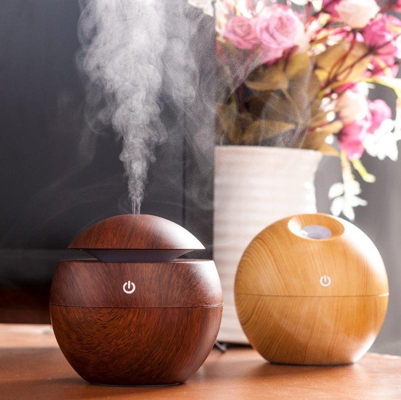 Máy Phun Sương Tạo Ẩm Hình Tròn ( Màu Vân gỗ), Máy xông tinh dầu, máy phun sương tạo ẩm lọc không khí cổng USB có đèn led