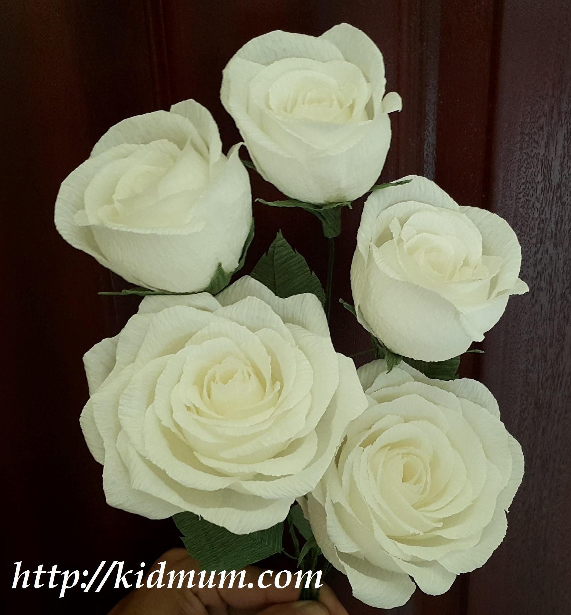 5 cành hồng giấy nhún Ý cao cấp, màu tùy ý, đầy đủ cành, lá bằng kẽm có thể uốn tùy chỉnh - handmade