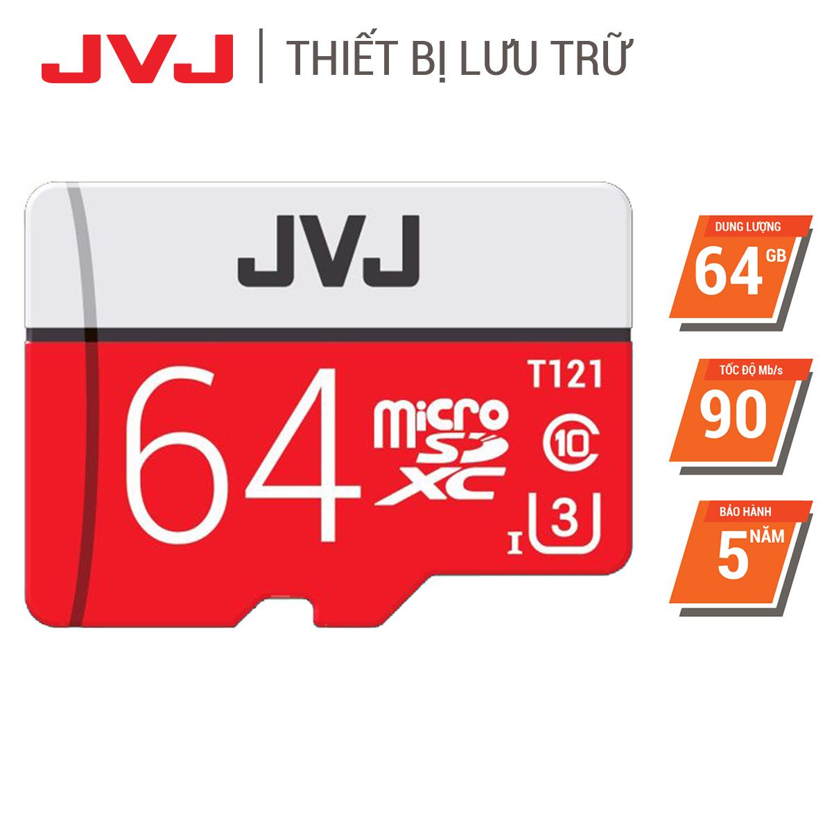 Thẻ nhớ 64Gb Class10 U3 JVJ Pro Tốc độ cao - thẻ nhớ chuyên dụng camera hành trình, camera wifi, camera yoosee, thẻ game, điện thoại, máy tính bảng, thẻ nhớ 64G, siêu bền, BH 5 năm Samsung, Oppo, Xiaomi, điện thoại android thumbnail