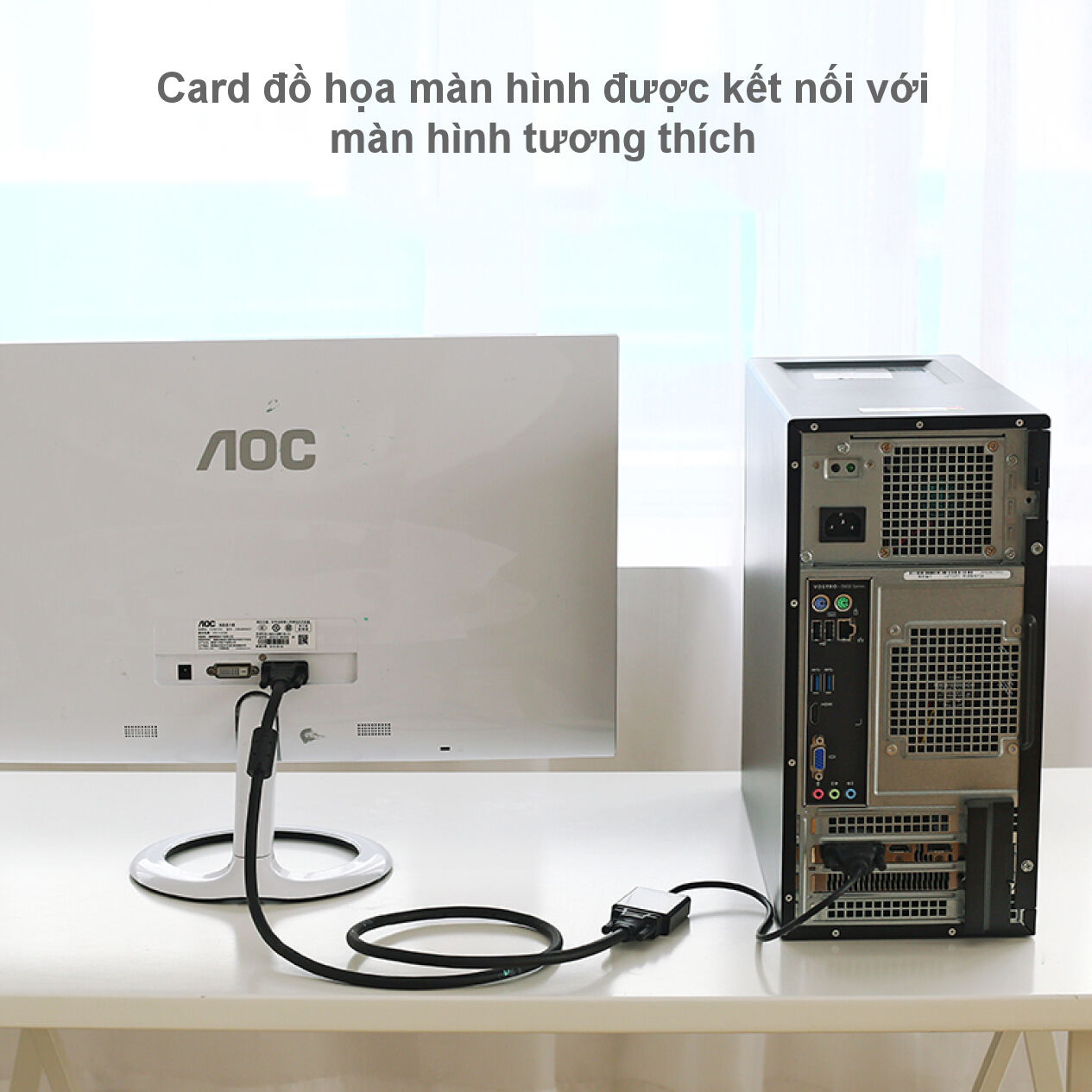 Bộ chuyển đổi (adaptor) DVI 24+1 sang VGA 30cm UGREEN MM108 40387
