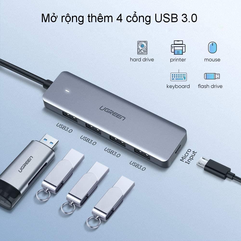 Hub chuyển đổi USB / USB type C sang 4 cổng USB 3.0 UGREEN CM219 CM136 - Hỗ trợ cổng nguồn Micro USB, tốc độ truyền tải tối đa 5Gbps