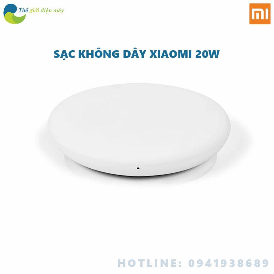 Đế sạc không dây thông minh Xiaomi Mi Wireless charger màu trắng sạc nhanh hỗ trợ chuẩn sạc QC3.0 20W bao gồm cả cốc sạc nhanh - Shop thế giới điện máy