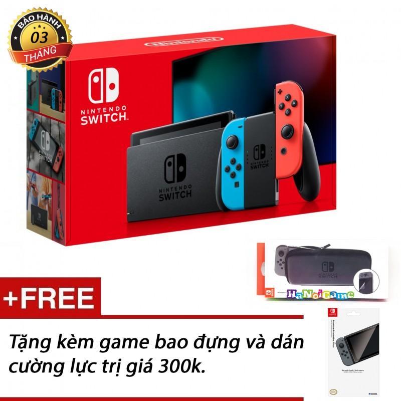 Hình ảnh Máy chơi game Nintendo Switch 2019 hàng nhập khẩu (pin lâu hơn, màu blue/red, tặng kèm bộ phụ kiện)