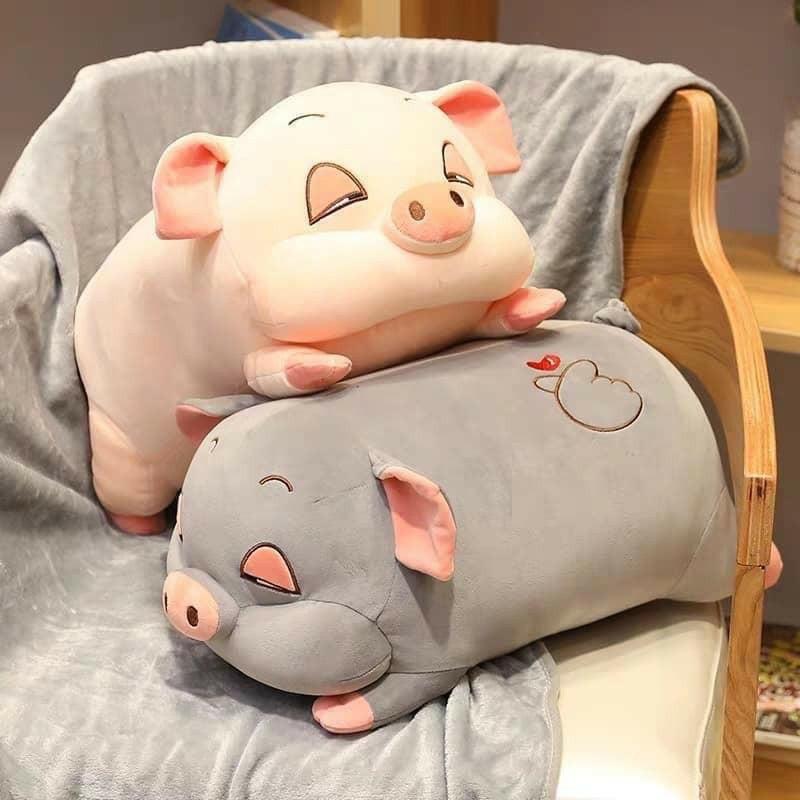 Bộ chăn gối 3 trong 1 hình heo lười dễ thương-Bộ Gối Mền Ngủ Văn Phòng Mềm  Mịn Siêu Ấm, Gọn Nhẹ, Tiện Lợi- Bộ gối lợn kèm chăn siêu mềm mịn