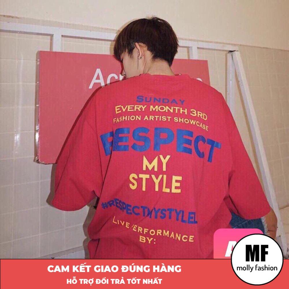 Áo phông, áo thun nam nữ form rộng tay lỡ Giấu Quần Respect Freesize 70kg Molly Fashion ML125