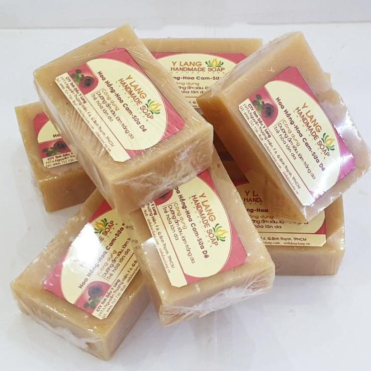 Xà phòng handmade Hoa Hồng -Hoa Cam - Sữa Dê làm mềm da thô ráp giúp làn da luôn tươi trẻ và rạng rỡ