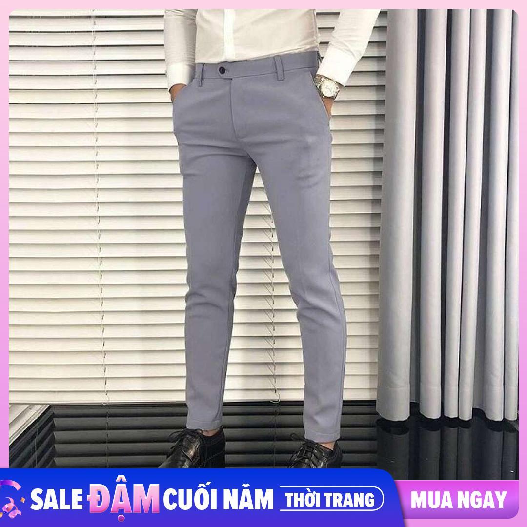 quần tây âu nam vải lụa cotton dáng ôm co giãn không nhăn thời trang công sở cao cấp