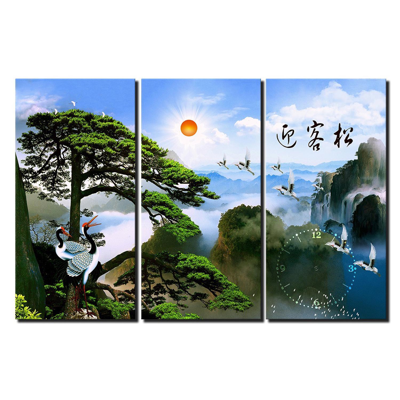 Tranh treo tường - Hạc Báo Bình An 08 - Tranh Minh Hiền ( 3 TRANH GHÉP)