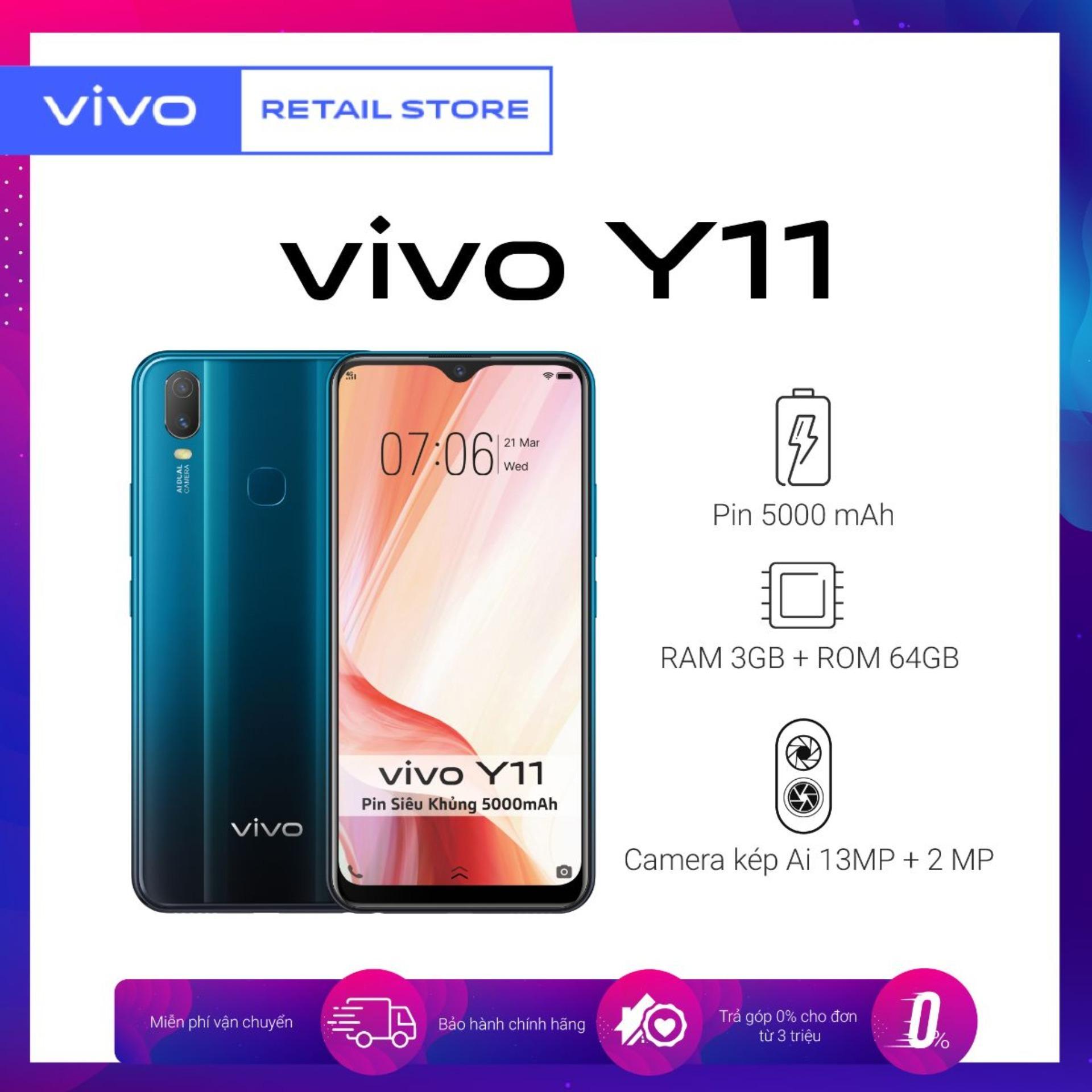 BẢO HÀNH CHÍNH HÃNG Điện thoại Vivo Y11 (3GB/32GB) - Màn hình tràn 6.35'' Camera sau kép 13MP + 2MP Pin khủng 5000mAh - Hàng chính hãng bảo hành 12 tháng