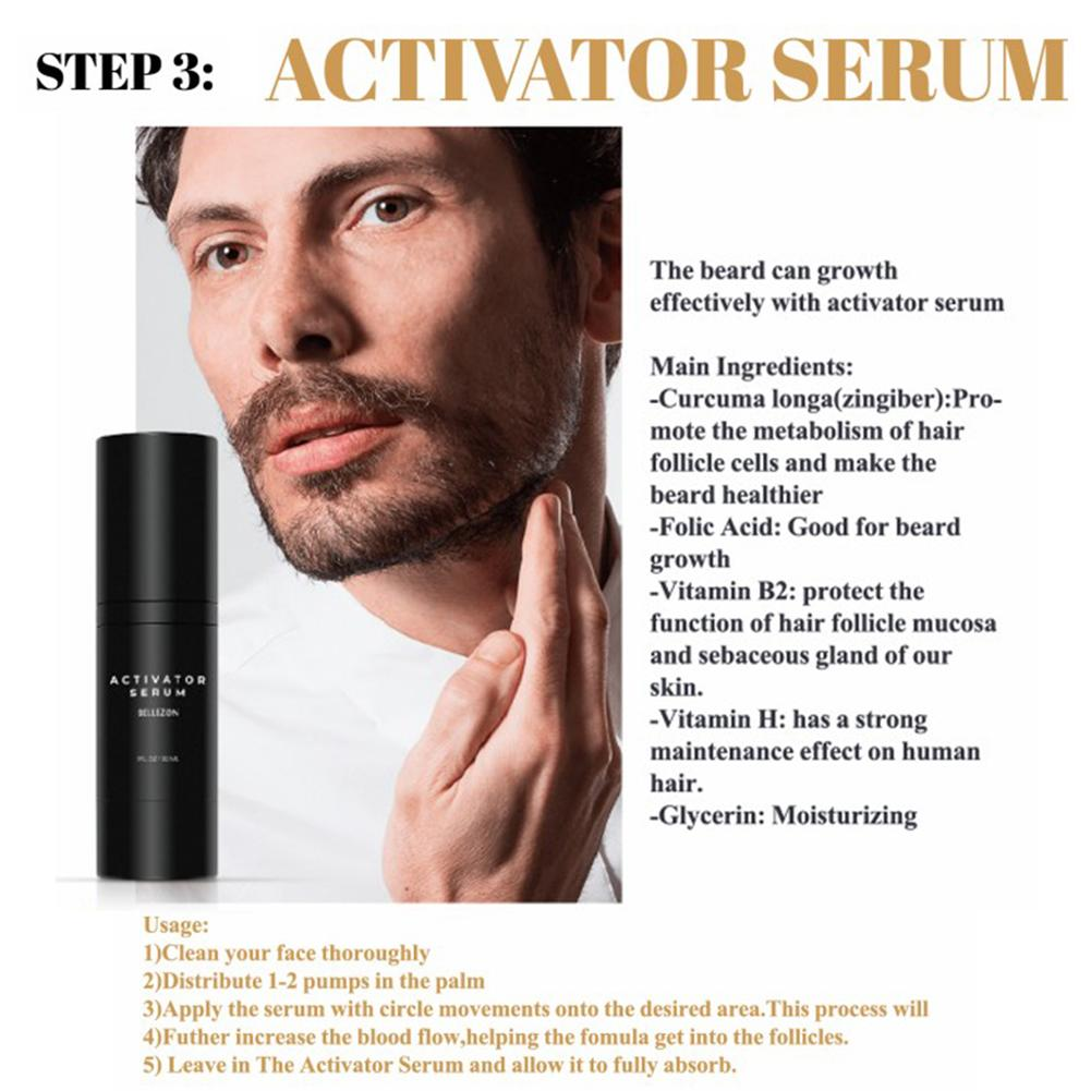Beard Growth Enhancer 4 Pcs/set Men Beard Growth Kit Face Hair Growth  Enhancer Thicker Essence Beard Growth Enhancer