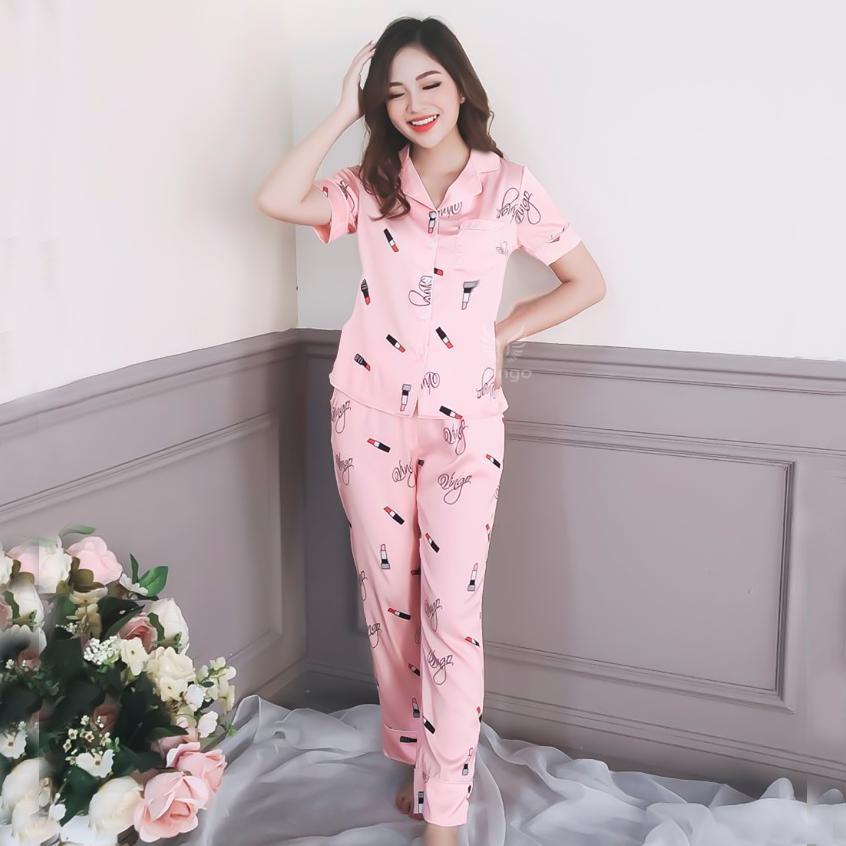 Bộ pijama nữ, pijama lụa, đồ bộ mặc nhà, pyjama, bộ pijama tay cộc quần dài Vingo họa tiết son môi chất liệu lụa satin cao cấp mềm mại không nhăn H090 VNGO