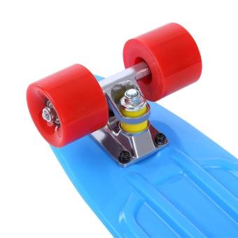 22 Inch Four-Wheel Long Skateboard Retro Style PP Board Deck (Blue Red Wheel) - intl