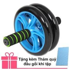 Bánh xe lăn tập cơ bụng AB Wheel + Thảm quỳ đầu gối khi tập (Xanh lá thẫm)