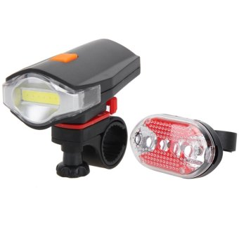 Bicycle COB LED Bike Cycling Front Rear Tail Light+5LED TaillightNight - intl
