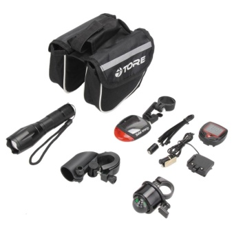 Bike Cycling Kit: Flashlight+Tail Light+Stopwatch+Tube Bag+Bell+Bracket - intl