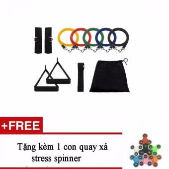 Bộ dây đàn hồi tập thể hình cao cấp + Tặng kèm 1 con quay xả stressspinner