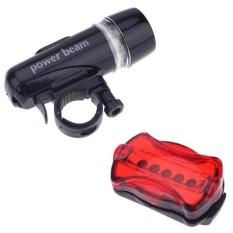 Bộ đèn pin gắn xe đạp và đèn chiếu hậu 5 LED WJ-101 (Đen đỏ) tặngđèn led gắn van xe K 131