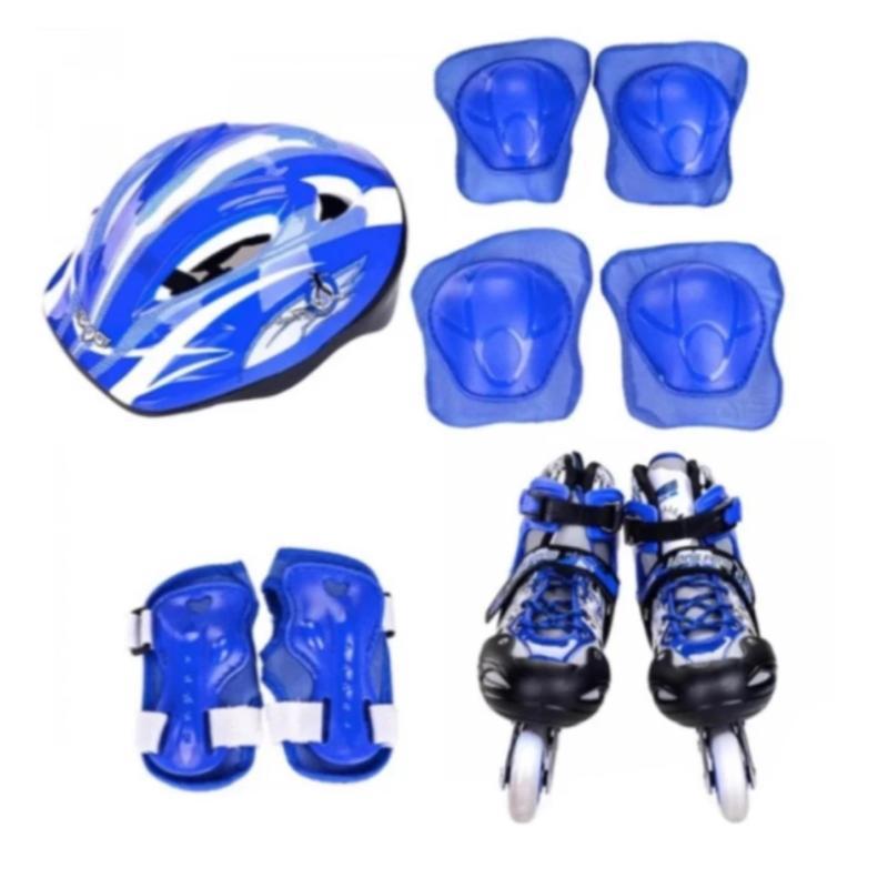 Phân phối Bộ giày chơi patin ( giày trượt + bảo vệ tay chân + nón bảo hộ ) có túi đi kèm size M 35-38 ( xanh )