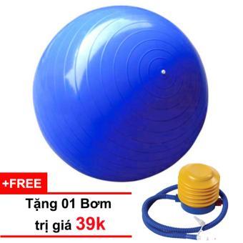 Bóng tập Yoga cao cấp 65cm trơn (xanh) tặng kèm 01 bơm trị giá 39k