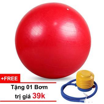 Bóng tập Yoga cao cấp 75cm trơn (đỏ) tặng kèm 01 bơm 39k