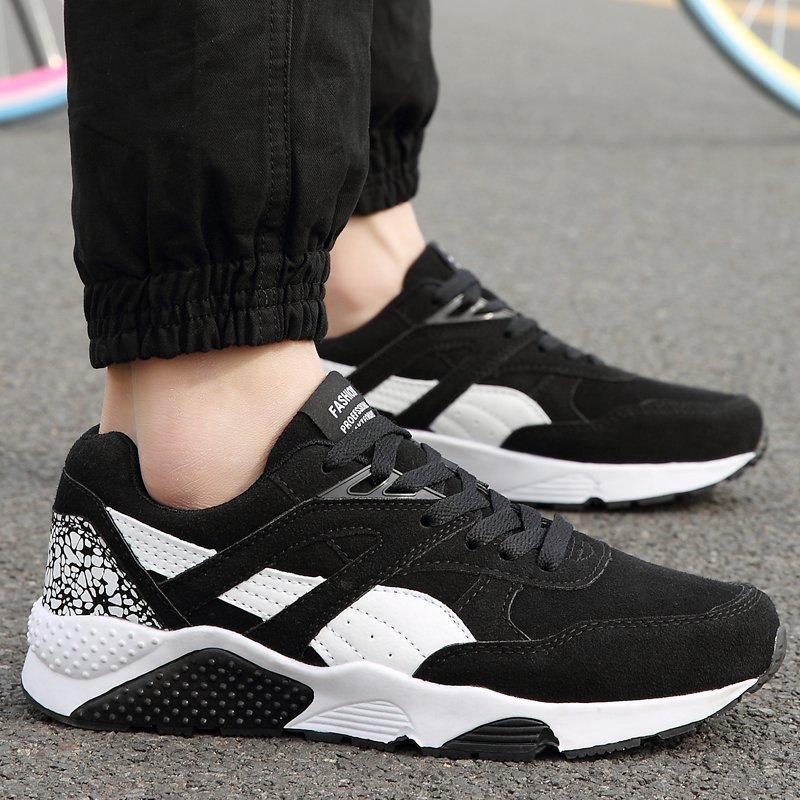 Fashion Casual Men Lace Up Running Sneakers Shoes (BLACK) - intl