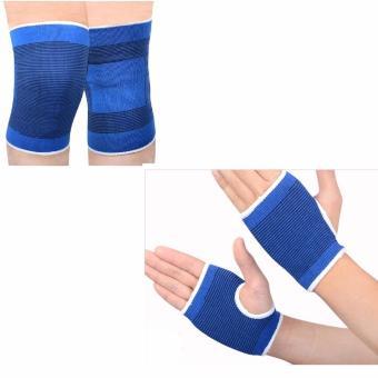 Bộ 4 miếng bảo vệ tay và đầu gối cho người đi xe đạp (Xanh lam)