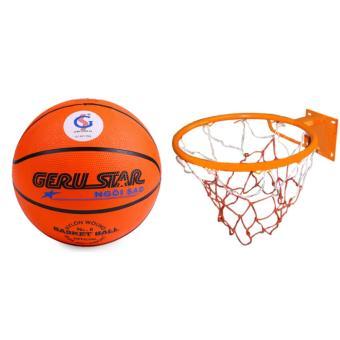 bộ quả bóng rổ gerustar số 6 và vành rổ zensport 40 cm