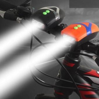 Đèn Pin LED trên xe đạp kèm đế kẹp White L.E.D Horn Flash H101 (Cam).