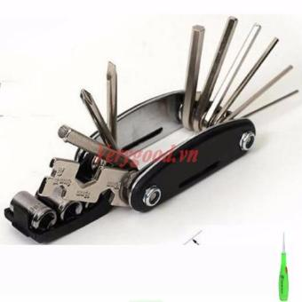 Dụng cụ sửa chữa đa năng 15 in 1 tiện dụng + Tặng kèm 1 dụng cụ láy ráy tai có đèn (Đen)