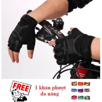 Găng tay nam hở ngón kiểu lính (Đen) + Tặng 1 khăn phượt đa năng
