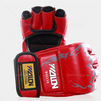 Găng tay boxing wolon hở ngón (Đỏ)