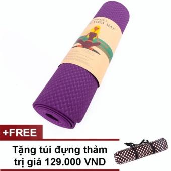 Thảm tập Yoga cao cấp 2 lớp 1 màu dầy 8ly (tím)
