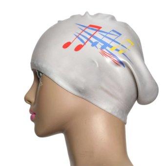 Silver Silicone Swimming Long Hair Cap Ear Wrap Waterproof Hat Note Pattern - INTL