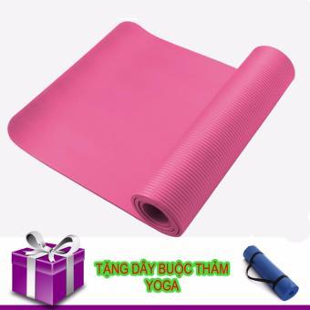 Thảm Tập Yoga TPE Siêu Bền Loại Dày 10mm (hồng tặng dây đeo)