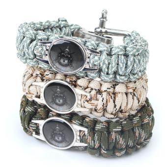 Wilderness Survival Rope Bracelet Camping Multifunction Nylon (Blue)Digital (Intl)
