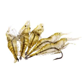 6pcs Shrimp Fishing Simulation Soft Prawn Lure Hook Tackle Bait Lures (Intl:)