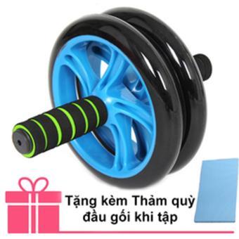 Bánh xe lăn tập cơ bụng AB Wheel + Thảm quỳ đầu gối khi tập (Xanh lá thẫm