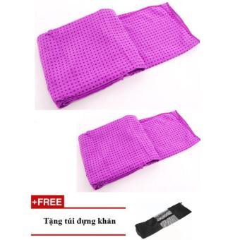 bộ 2 khăn trải thảm yoga silicon (tím)