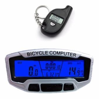 Đồng hồ tốc độ xe đạp SunDing SD-558A và Móc khóa đo áp suất hơi điện tử