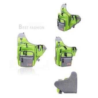 Waterproof Fishing Tackle Bag Pack Shoulder Waist Box Reel Lure Green - intl