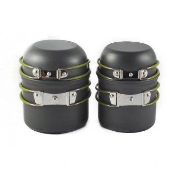 4pcs Outdoor Cookware Camping Utensils Pot Bowl (Gray) - intl