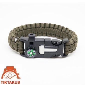 Vòng tay sinh tồn Paracord 02 ( xanh lính) - Tiktakus