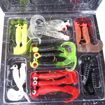 17pcs Fishing Lure Jig Head Hook Grub Worm Soft Baits Shads - intl