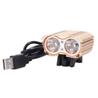 8000LM USB 2XCREE XM-L T6 LED Head Lamp Light Bicycle Headlight (gold) - intl